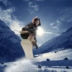 Skisport vinterferie på snowboard